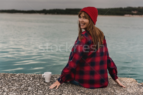 Love spending my day woth a hot coffee Stock photo © iko