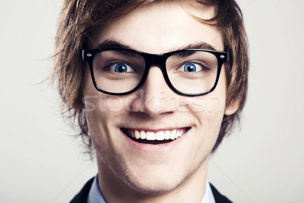 Louco nerd retrato homem de negócios Foto stock © iko