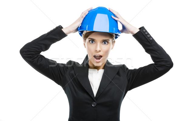 Fuuny portrait of young female engineer Stock photo © iko