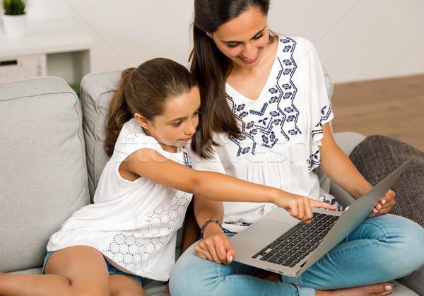 Photo stock: Mère · fille · maison · maman · enseignement · travail
