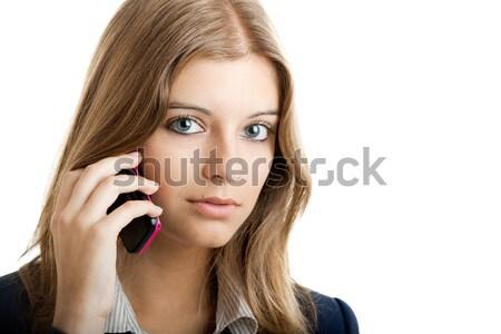 Iş kadını cep telefonu portre güzel işkadını cep telefonu Stok fotoğraf © iko