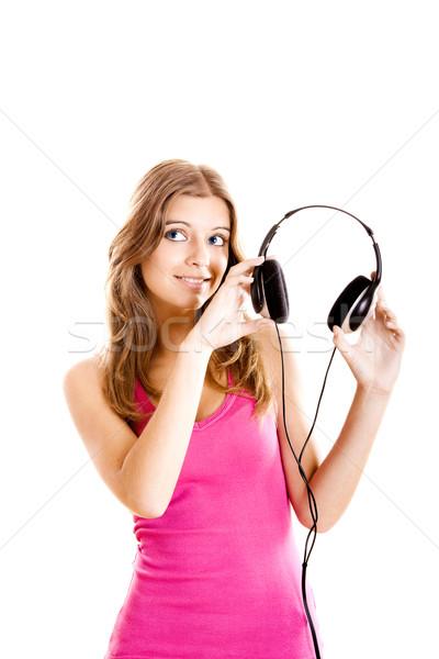 Photo stock: écouter · musique · belle · jeune · femme · casque