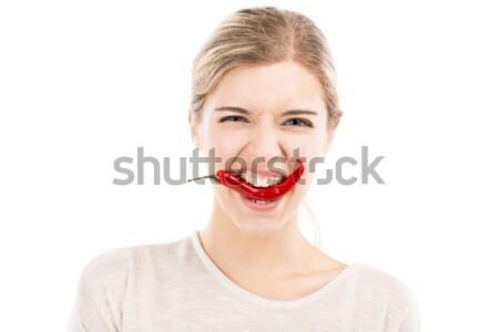 Foto stock: Vermelho · pimenta · pimenta · beautiful · girl · isolado