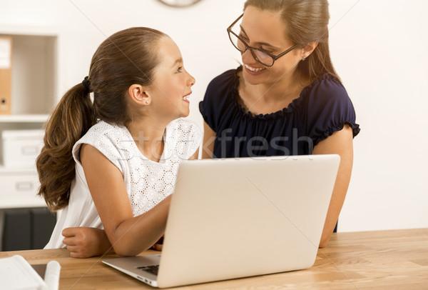 Hausaufgaben Mutter home zusammen Stock foto © iko
