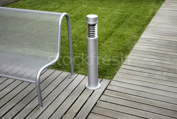 современных скамейке мнение парка трава древесины Сток-фото © iko