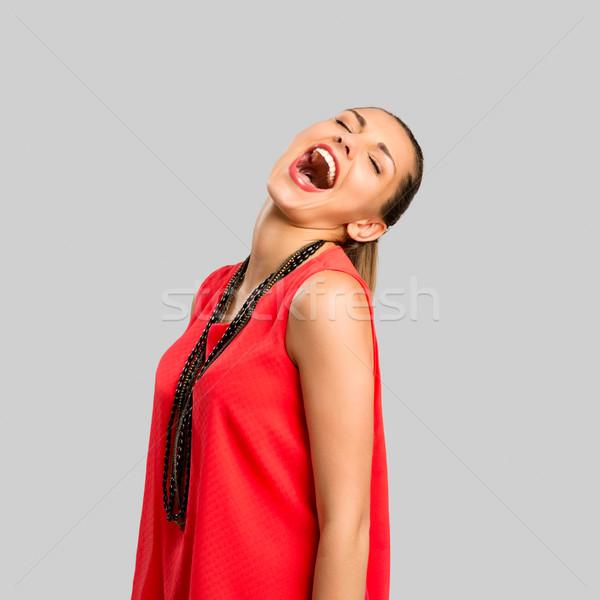 Veroorzaken gelukkig portret mooie vrouw blij gezicht Stockfoto © iko
