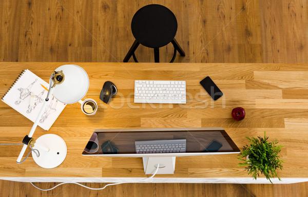 Confortável escritório topo ver computador trabalhar Foto stock © iko