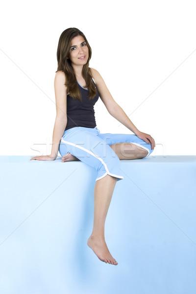 Mulher belo jovem azul Foto stock © iko
