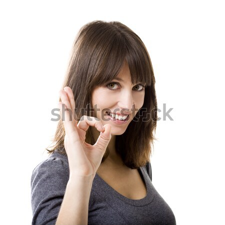 Otimista mulher bela mulher excelente trabalho Foto stock © iko