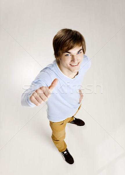 Portret knap jonge man denken grijs hand Stockfoto © iko