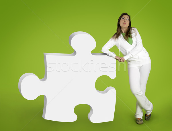 Woman contemplating questions Stock photo © iko