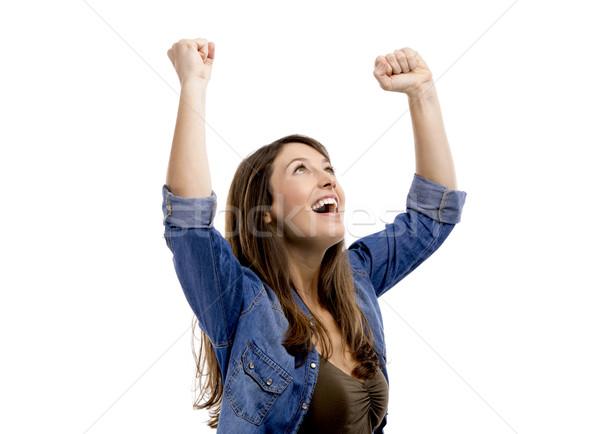 Feliz mulher alcançado sucesso isolado branco Foto stock © iko