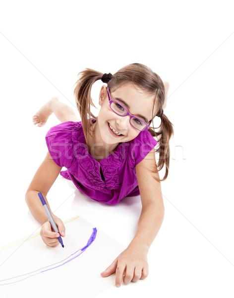 Girl making drawings Stock photo © iko