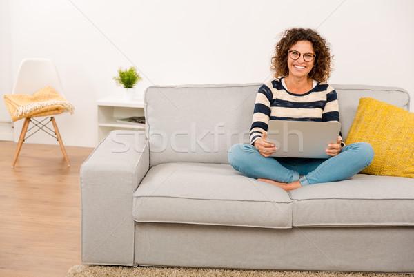 Beautiful woman working at home Stock photo © iko