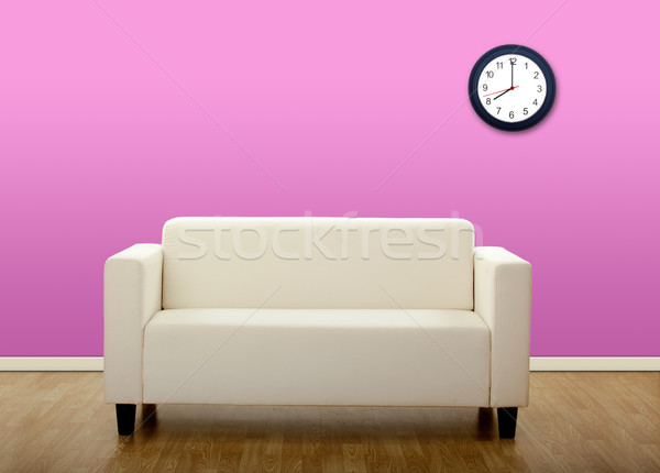 Photo stock: Confortable · canapé · photos · maison · centre · horloge