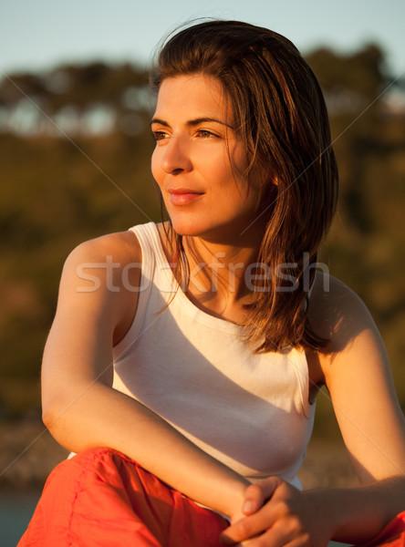 Outdoor ritratto bella giovani tramonto Foto d'archivio © iko