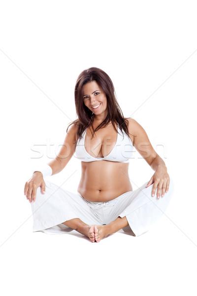 妊娠 妊婦 フィットネス 孤立した 白 ストックフォト © iko