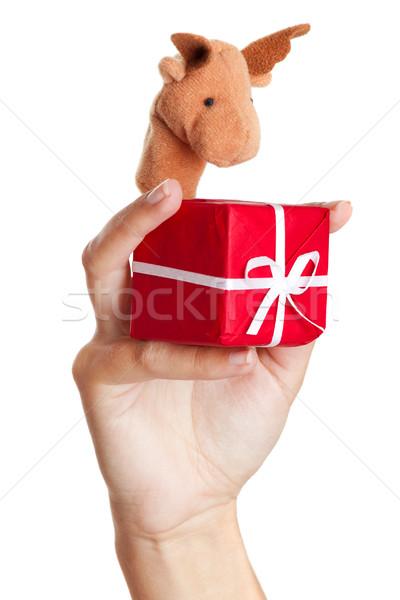 Stockfoto: Christmas · rendier · vrouwelijke · hand · marionet