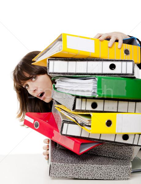 Hangsúlyos nő iroda tele mappák munka Stock fotó © iko
