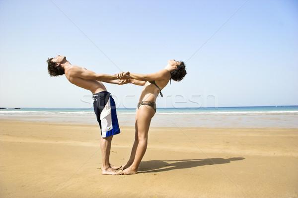Güneş pozisyon plaj su Stok fotoğraf © iko