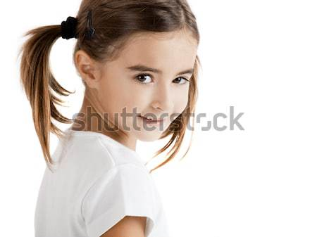 Meisje portret mooie geïsoleerd een witte Stockfoto © iko