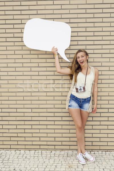 Ondeugend meisje mooie jonge tiener Stockfoto © iko