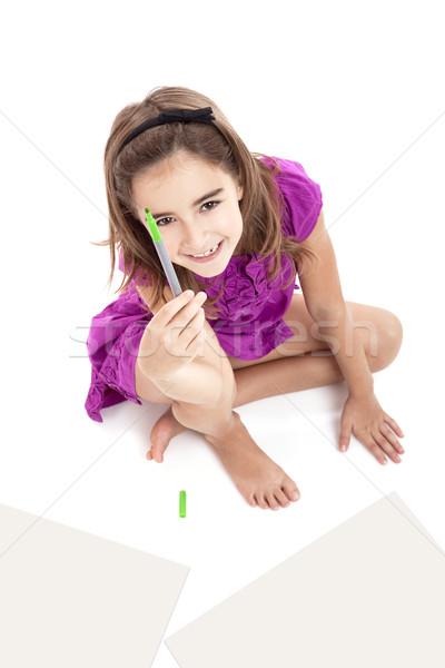 Foto stock: Menina · desenhos · sessão · piso · papel
