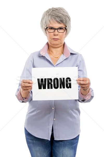 Yanlış kâğıt kart kelime Stok fotoğraf © iko