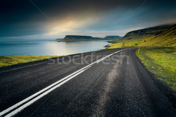 Islande route belle incroyable paysages ciel Photo stock © iko