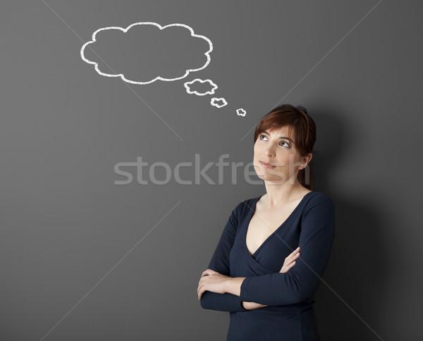 幸せ 感想 若い女性 思考 ストックフォト © iko