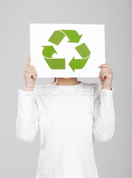 Recycleren iedereen kind papier symbool Stockfoto © iko