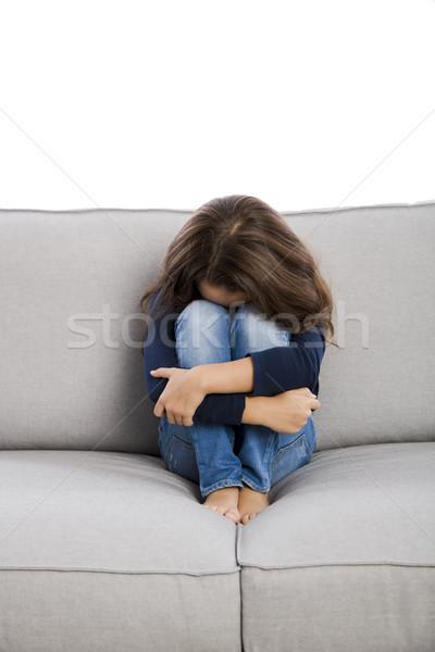 動揺 女の子 座って ソファ 子供 ストックフォト © iko