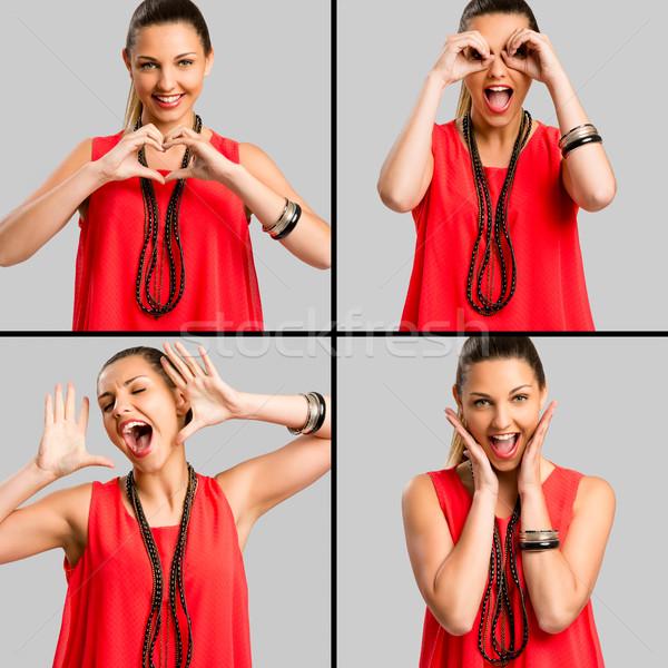 Jó hangulat többszörös portrék nő készít őrült Stock fotó © iko