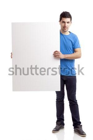 Hombre cartel retrato joven Foto stock © iko
