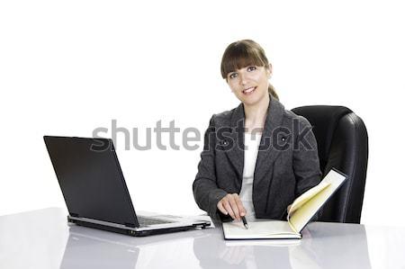 Mulher trabalhando belo mulher de negócios escritório isolado Foto stock © iko