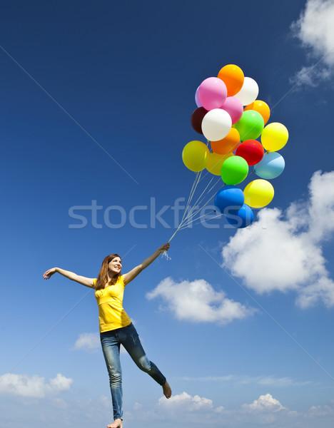 Flying with balloons Stock photo © iko