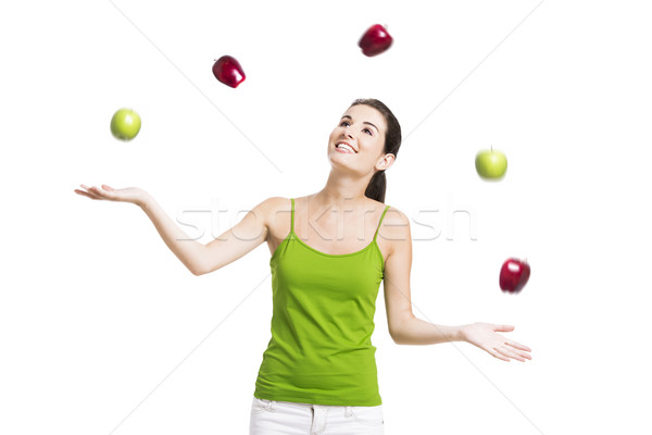 Healthy woman with apples Stock photo © iko