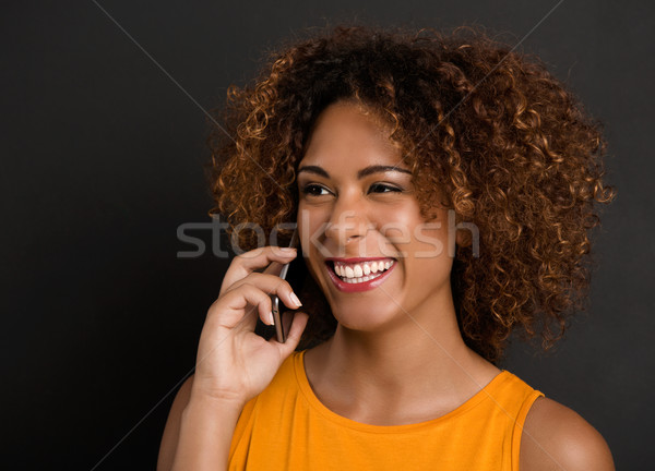 Teléfono mejor amigo hermosa mujer Foto stock © iko