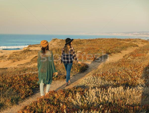 徒歩 海岸線 2 美しい 日 ストックフォト © iko