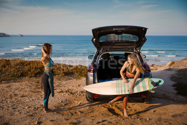 Surf and friendship Getting ready for another surf day Stock photo © iko
