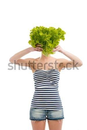 Lechuga cabeza mujer verde cara Foto stock © iko
