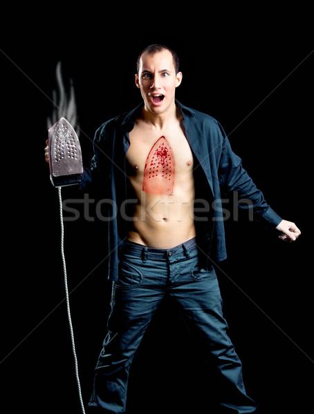 Crazy człowiek hot piersi twarz Zdjęcia stock © iko