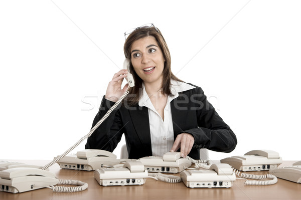 Foto stock: Call · center · trabalhar · bela · mulher · ocupado · trabalhando · negócio