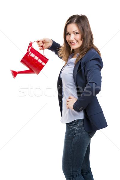 Empresária mulher de negócios água lata Foto stock © iko