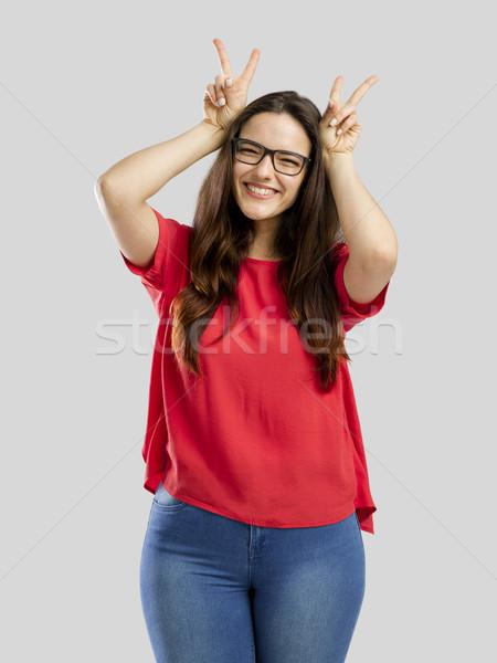 Donna stupido faccia ritratto sorriso Foto d'archivio © iko