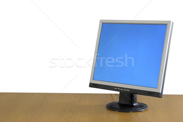 LCD monitor Widok tabeli działalności pracy Zdjęcia stock © iko