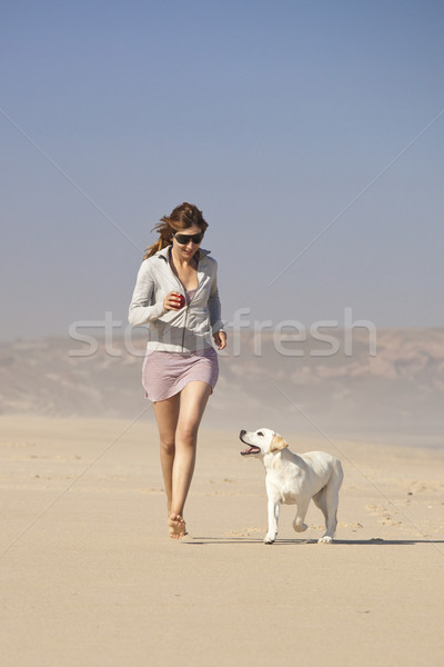 Girl with her cute dog Stock photo © iko