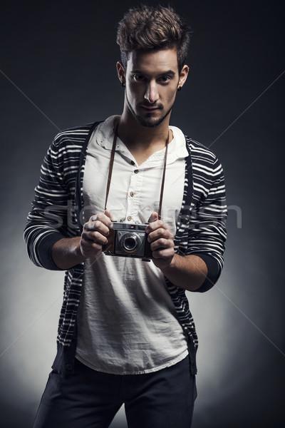 Moda genç stüdyo portre poz eski Stok fotoğraf © iko