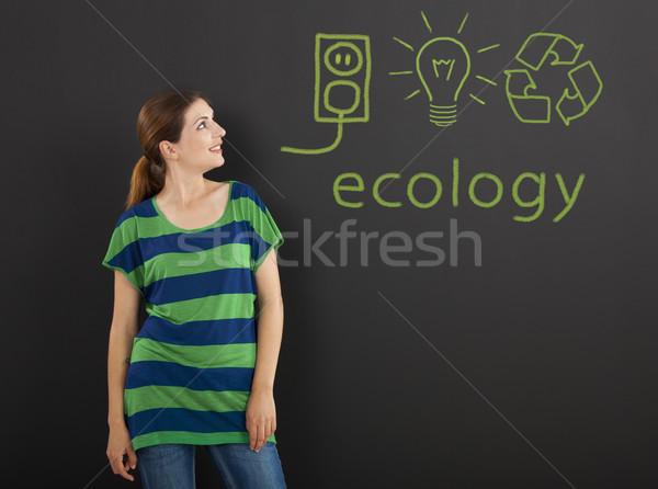 Ecologia felice donna lavagna concetti scritto Foto d'archivio © iko