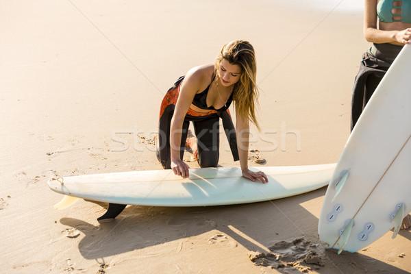 Foto stock: Listo · otro · surf · día · dos · hermosa